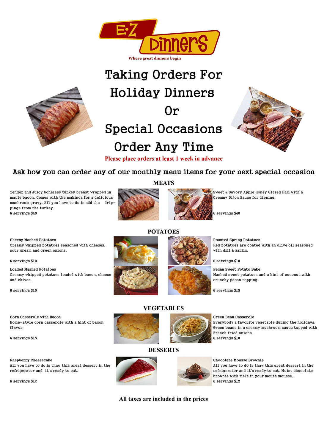Holiday and Parties Meal Dinners Catering Menu