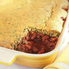 chili pie with cornbread topping