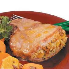 just peachy stuffed pork chop meal