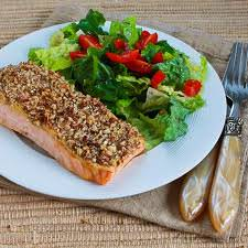 pecan encrusted salmon dinner meal